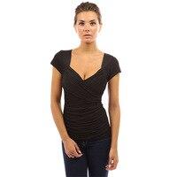 Menbone 2018 New Arrivals V Neck Women T Shirt Solid Fitness Brand Short Sleeve Basic T