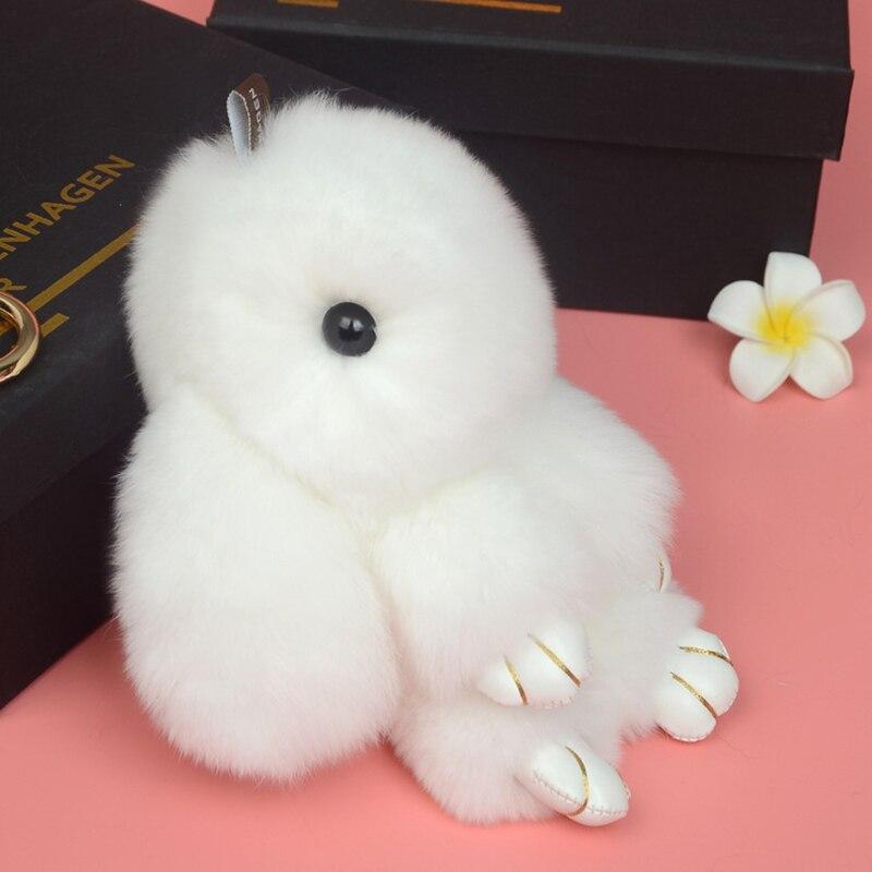 2017 Bunny Keychain Rabbit Cute Fluffy Keychain Rex Genuine Rabbit Fur White Key Ring PomPom Toy