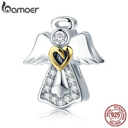 BAMOER Trendy New 925 Sterling Silver Guardian Angel Charm Beads fit Bracelets & Necklaces Clear CZ DIY Jewelry Making SCC747
