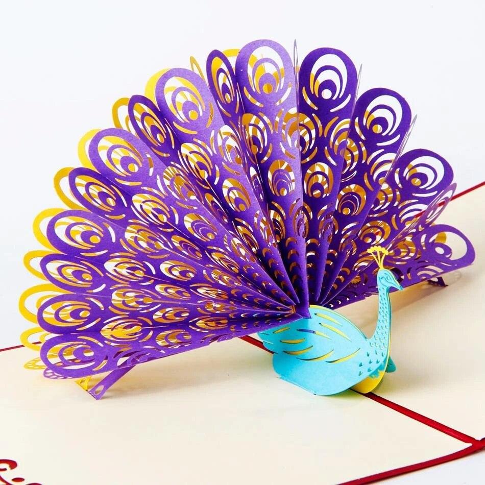 Incroyable Cool 3d Pop Up Cartes Cartes De Voeux Personnalisees 3d Paon En Rouge Pour Anniversaire Cartes Personnalisees Livraison Gratuite Cd009 Aliexpress
