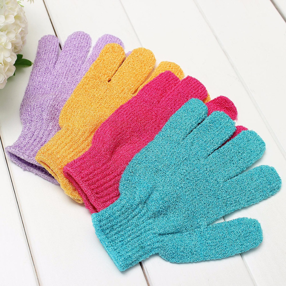 Shower Bath Gloves Exfoliating Wash Skin Spa Massage Scrub Body Scrubber Glove Random colors 1pcs