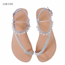 2018 NEW Women`s summer bohemia diamond sandals women beach pearl shoes T-strap thong flip flops comfortable peep toe