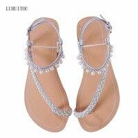 2018 NEW Women`s summer bohemia diamond sandals women beach pearl shoes T strap thong flip flops comfortable peep toe shoes