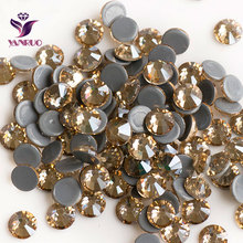 YANRUO 2058HF Golden Shadow Crystal Stones Hot Fix Rhinestones Gold Cristal Iron on Dress Shoes