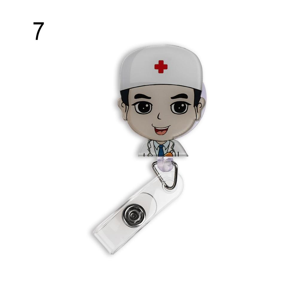 1 шт. Милая мультяшная мини-выдвижная катушка для бейджа медсестры Lanyards ID Имя карты держатель для бейджа клип студенческий значок медсестры держатель офис S - Цвет: 7