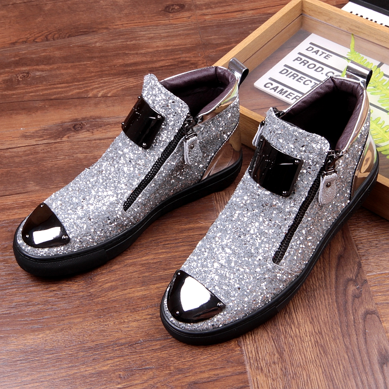 Movechain New Men's Casual Fashion Zipper Outdoor High-Top Shoes Man Slip-On Boots Mens Driving Party Flats 6