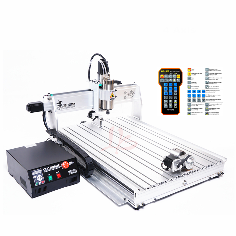 3 Axis Mini Cnc Router 8060 Metal Engraving Machine 2200W Water Cooled Spindle 4 Axis Wood Carving With Limit Switch Cutter