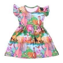 새 도착 아기 소녀 여름 다채로운 공룡 인쇄 드레스 밀크 실크 공룡 세계 짧은 소매 의류 키즈 부티크 착용