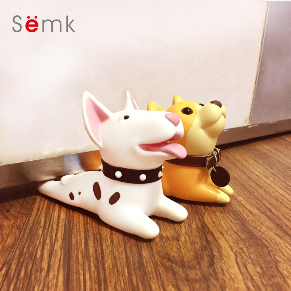 Semk Cute Cartoon Terrier Dog Design Door Stopper Doorstop Safety for Baby Guard Dog Anime Protector Figures Toy for for kids