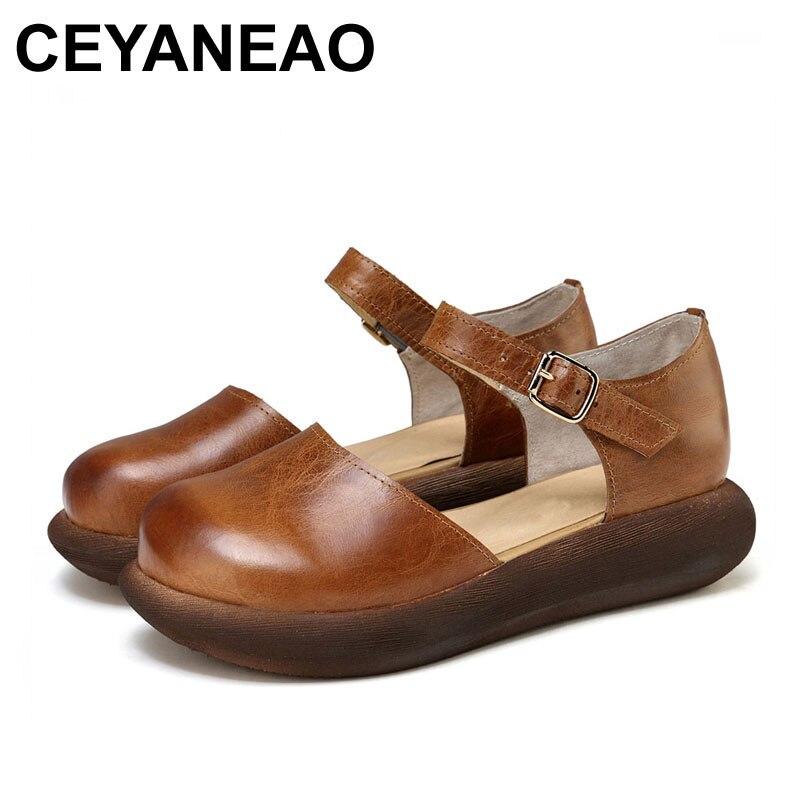 CEYANEAO 2018 été sandales femmes mode en cuir véritable chaussures rétro boucle sangle Design 591