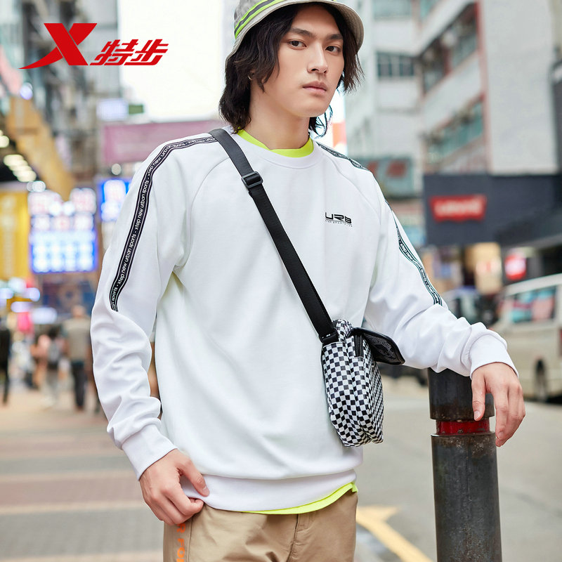 881329059205 Xtep мужские спортивные толстовки свитер осень повседневный спортивный свитер с круглым вырезом пуловер свитер с длинными рукавами - Цвет: white