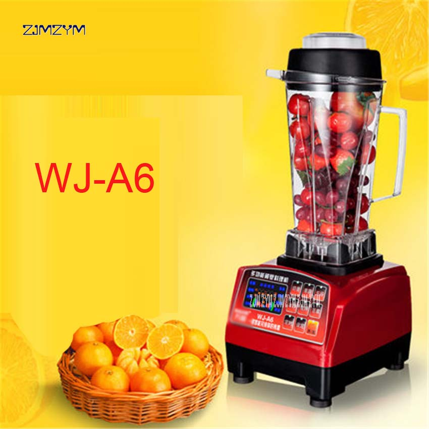 1PC WJ-A6 2200W Heavy Duty Commercial Grade Blender Mixer Juicer Food Processor Ice Smoothie Bar Fruit Stainless steel,ABS 220V commercial blender mixer juicer power food processor smoothie bar fruit electric blender ice crusher