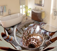 3 d flooring custom waterproof Stair armrest down channel 3d bathroom photo Adornment 3d wall murals wallpaper for walls 3 d