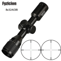 Hunting Tactical 8X32 AOIR Mil Dot Red Green Illumination Riflescope Optical Sights Glass Etched Reticle Rifle Scope