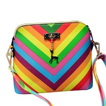 2017 Rainbow shell bag summer beach Famous brand exquisite fashion PU leather women handbag rivet ladies