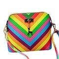 2017 Rainbow shell bolsa de playa de verano Famosa marca de moda exquisita pu mujeres del bolso del remache de las señoras del bolso de hombro M7-610