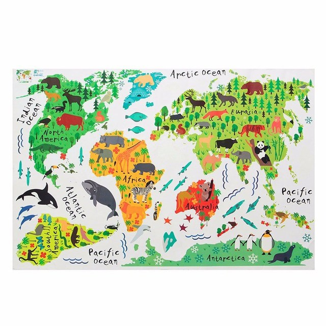 Modern design great colorful animal world map kids room decor wall modern design great colorful animal world map kids room decor wall sticker wall decals wallpaper mural gumiabroncs Image collections