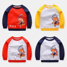 Get more info on the New Fashion Cute Cartoon Printed Kids Boy Japanese Sweatshirt Crop Top Dinosaur Clothes Toddler Patchwork Sweatshirts Pullovers