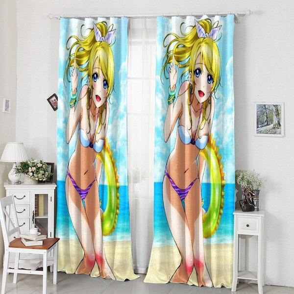 Ev ve Bahçe'ten Perdeler'de Ev Dekorasyon Aşk Canlı Anime Ayase Eli Bikini 120*200 CM Süt Elyaf Kumaş Pencere Perde #40821'da  Grup 1