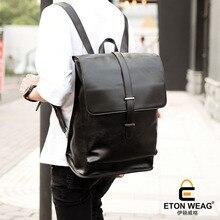 ETONWEAG New 2017 women brands Italian leather black business style backpacks luxury laptop school bags big capacity travel bag