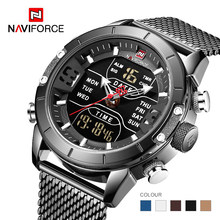 Mens Watch Top Brand Mewah Naviforce 9153 Jam Stopwatch LED Olahraga Militer Tahan Air Steelstrap Jam Tangan Pria Warna Jam(China)