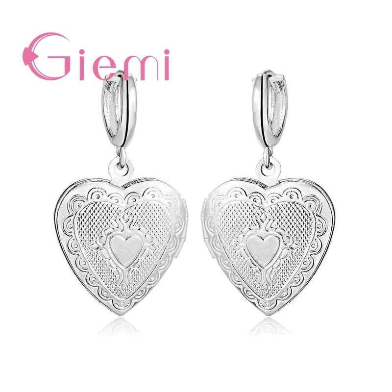 Vintage New Fashion 925 Sterling Silver Gold Retro Heart Flower Frame Locket Hoop Earrings For Weeding Female Love Jewelry Gift