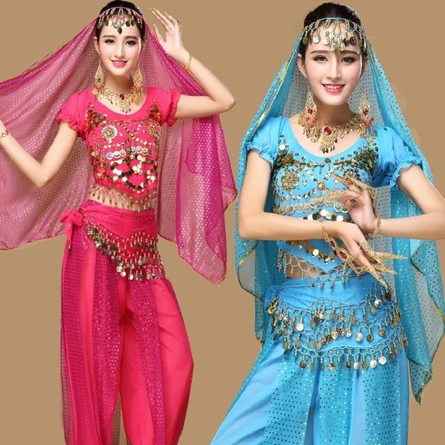Moda Indiana Costumi di Danza Del Ventre 5 Pz/set Pant + Top + Cintura