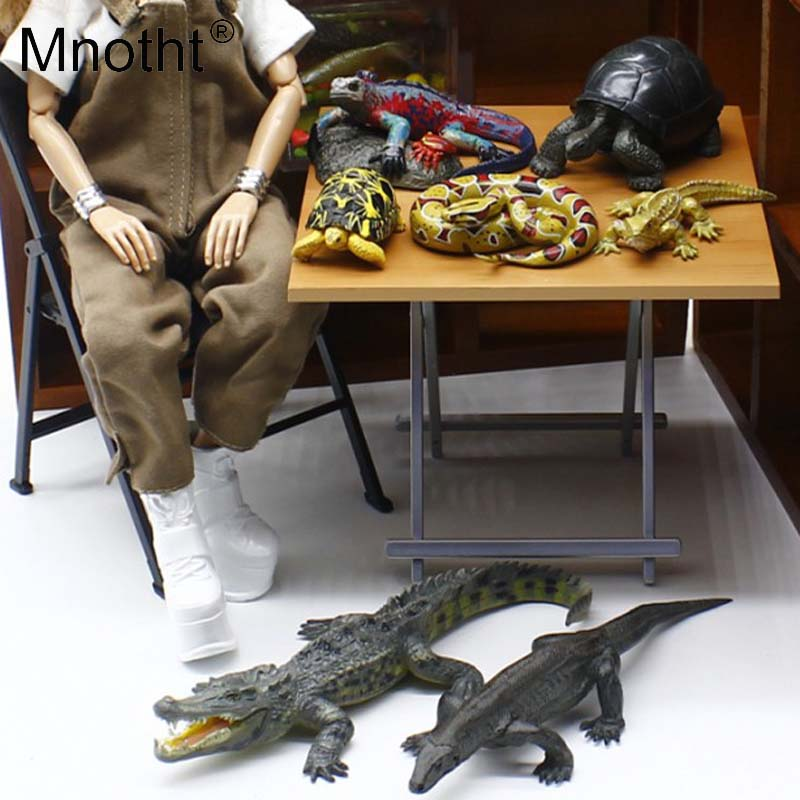 Mnotht 1/6 Scale Animal Model Toys Lizard Tortoise Snake Crocodile For 12in Action Figures Accessories Toys