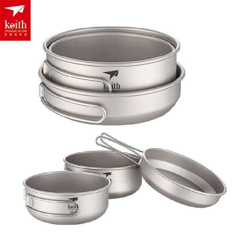 Keith 3 pièces Portable Camping titane poêle Pot sain Set ustensiles de cuisine bol avec couvercle extérieur poignée pliante casserole Ti6053