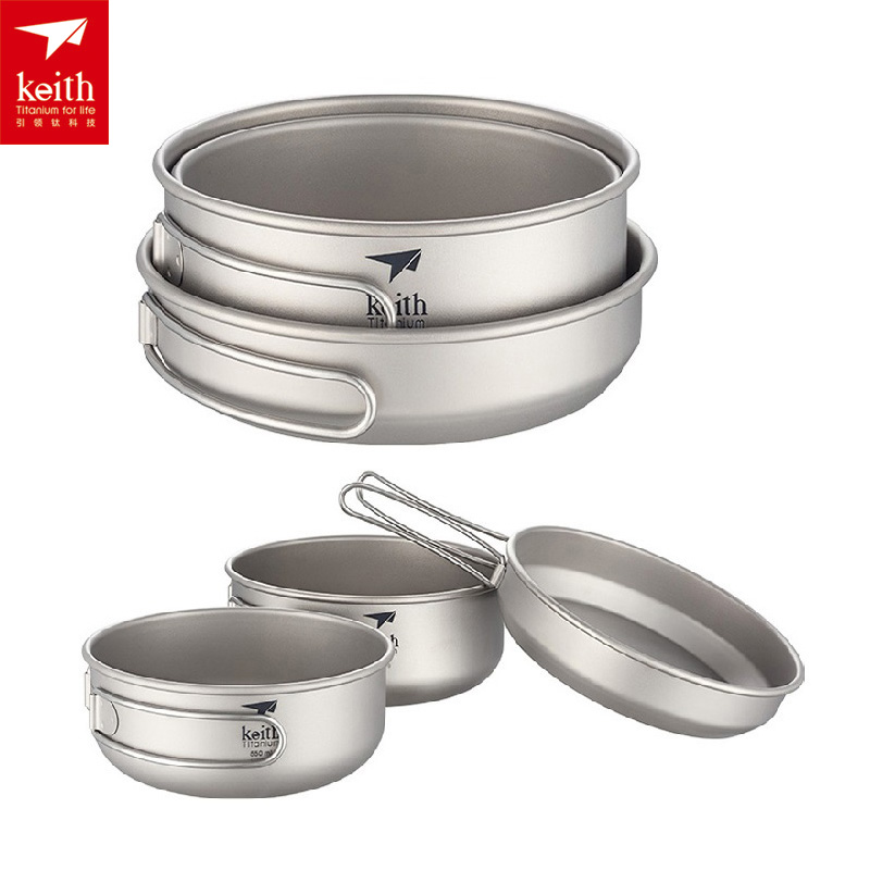 Keith 3PCS Portable Camping Titanium Frying-pan Healthy Pot Set Cookware Bowl With Cover Outdoor Folding Handle Pan Ti6053 keith kp6013 titanium pot w plate set silver 1 2l