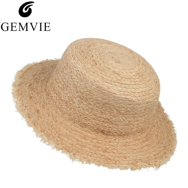 c7180cc4 Vintage Solid Fringe Wide Brim Raffia Straw Hats Women Beach Hats Flat Sun  Caps Summer Hat Sombrero Chapeu Feminino