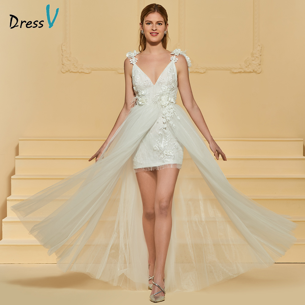 Wedding Gown With Neck Detail: Aliexpress.com : Buy Dressv V Neck Elegant A Line Beach