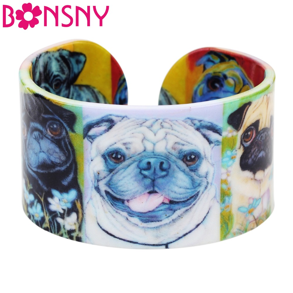 Bonsny Plastic Animal French Bulldog Pug Dog Bangle Bracelet Indian Fashion Jewelry For Women Girl Wholesale Craft Accessories