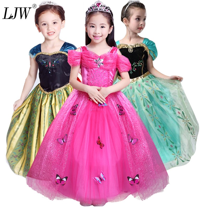 Costumes Frozen Elsa Anna Kids Girls Dress Costume Princess Party Fancy Xmas Christmas
