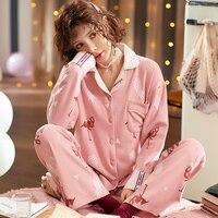 BZEL Women Pajamas 2 Pieces Cotton Sleepwear Pijama Turn down Collar Home Clothing Sleep Lounge Pyjama Sleep Lounge Underwear