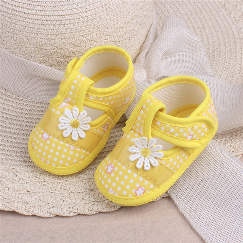 Newborns Girls Toddler Shoes Summer Infant Baby Flower Applique Polka Dot Stars Printed Soft Sole Prewalker Single Shoe 3-9M A20