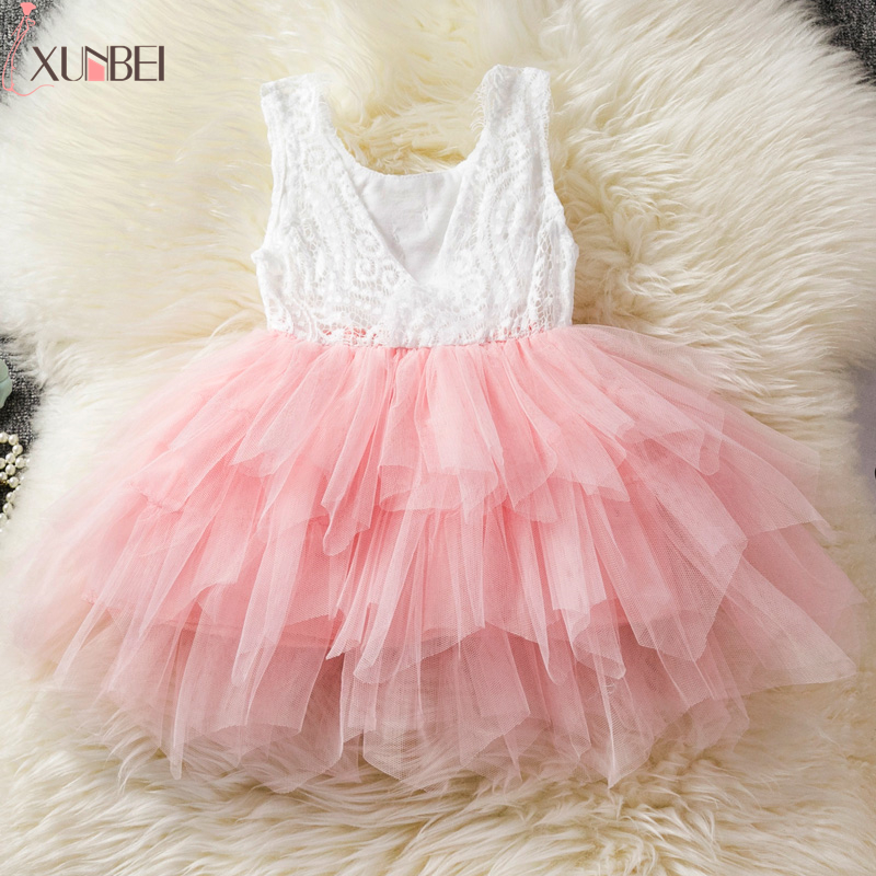 Lovely Ruffles Lace Pink   Flower     Girl     Dresses   2019 Sleeveless Soft Tulle Ball Gown Pageant   Dresses   For   Girls   Communion   Dresses