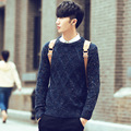 trend fall new men's sweater o neck diamond argyle knit outwear tops colored wool pullovers