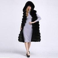 2017 Winter Women Black Faux Fur Vest Hooded X Long Faux Fur Coat Women Gilet Fourrure Fox Fur Female Vest Long Coat LJLS026