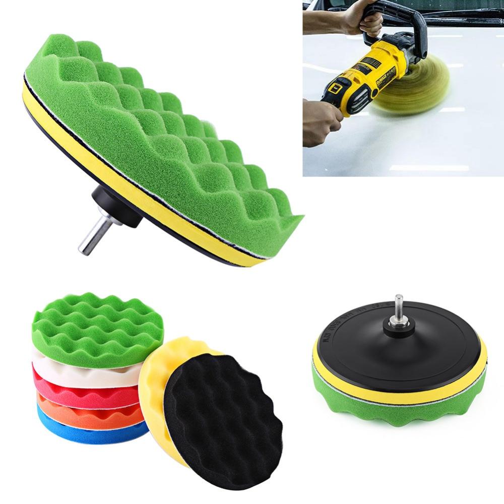 10Pcs/Set Auto Car Polishing Buffing Pad Kit 7 Waxing Pad Kit Tool For Car Polisher Buffer With Drill Adapter Car-styling