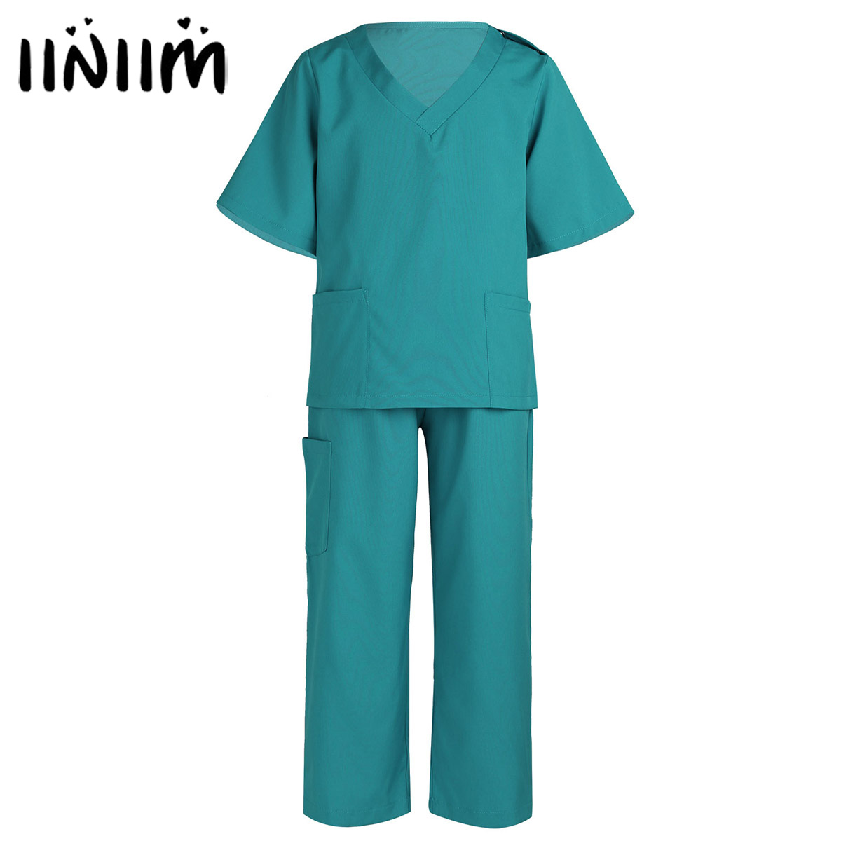 Unisex Kids Boys Girls Surgeon Doctor Costume Tops with Pants Cap Set for Halloween Cosplay Fancy Party Dress Up for Children
