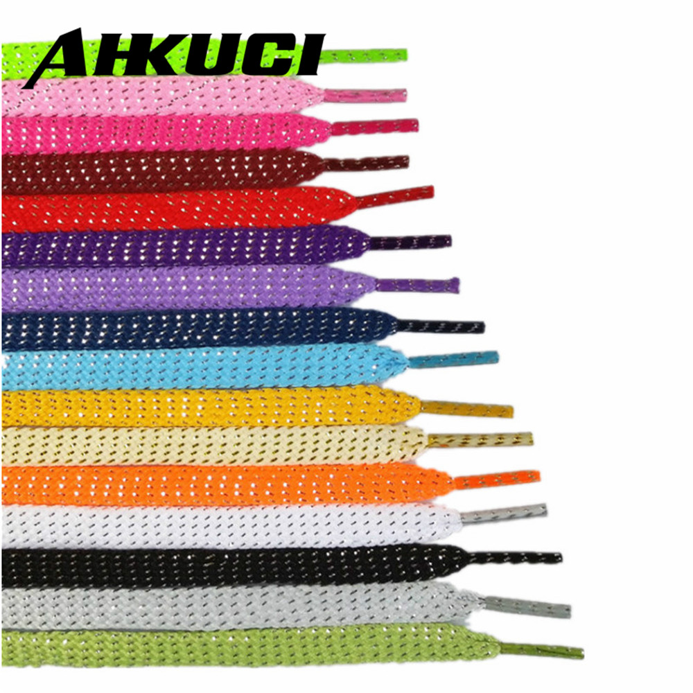 Wholesale 10 piars Gold and Silver thread Sport Sneakers Flat Shoelaces Bootlaces Shoe laces Strings For Multi Color wholesale 10 piars gold and silver thread sport sneakers flat shoelaces bootlaces shoe laces strings for multi color