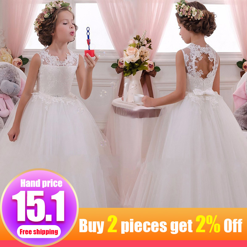 4-14 year old child   girl   wedding   flower     girl     dress   elegant princess party beauty   dress   lace back hollow tulle long   dress   LP-63