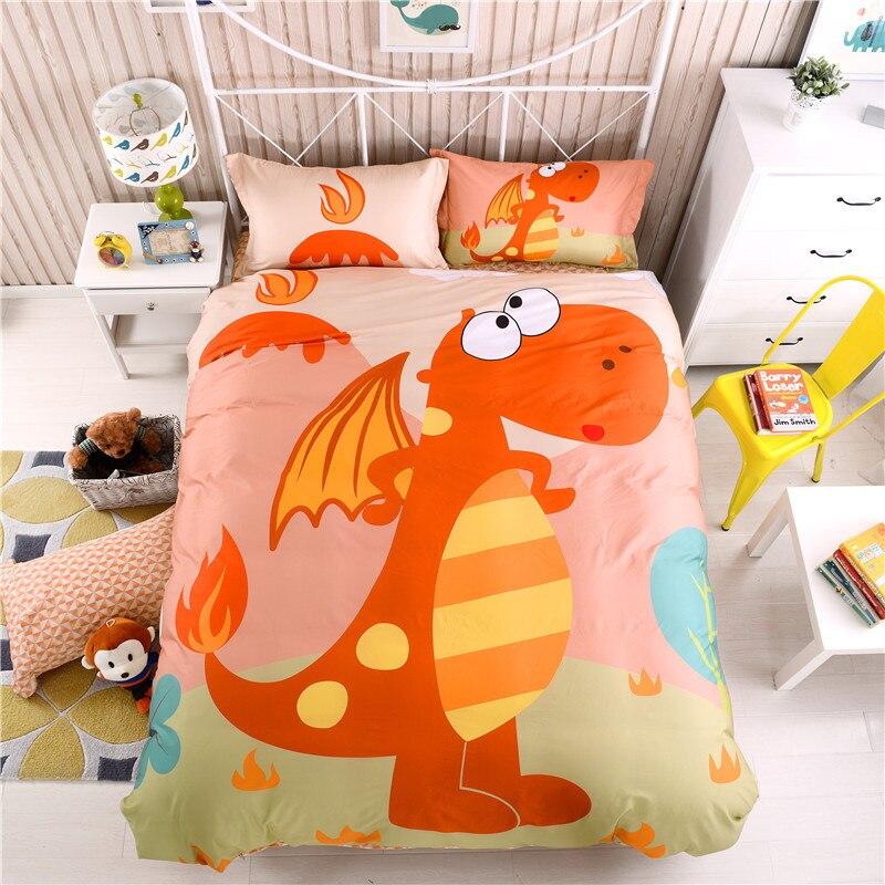 Cotton Cartoon Dinosaur Bedding set for Kids Boys Children Full Queen size Fit sheet Bed sheet set Duvet/Quilt Cover Pillowcase