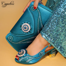 Capputine Latest Summer PU With Rhinestone Matching Shoes And Bag Set Italian Ladies Pumps 7CM Shoes And Bag Purse For Party