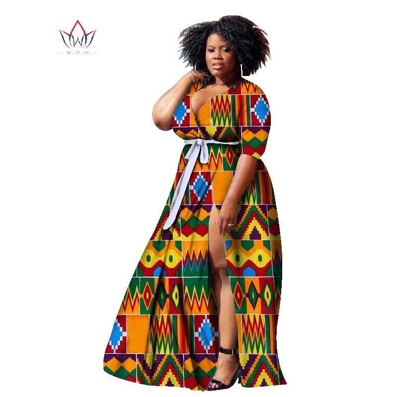 2019 New Africa Šaty pro ženy Bazin Plus Velikost Africký styl Oblečení Dashiki Deep V -Neck Ženy Africké Oblečení WY1169