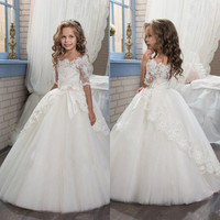 2017 White Lace For Girls First Commuion Dresses Off Shoulder Glitz Pageant Gown Girls Party Gown