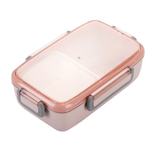 Portable Bamboo Fiber Easy Clean Leak-proof With Lid Healthy Bento Office Lunch Box Independent Lattice School Microwave Safe