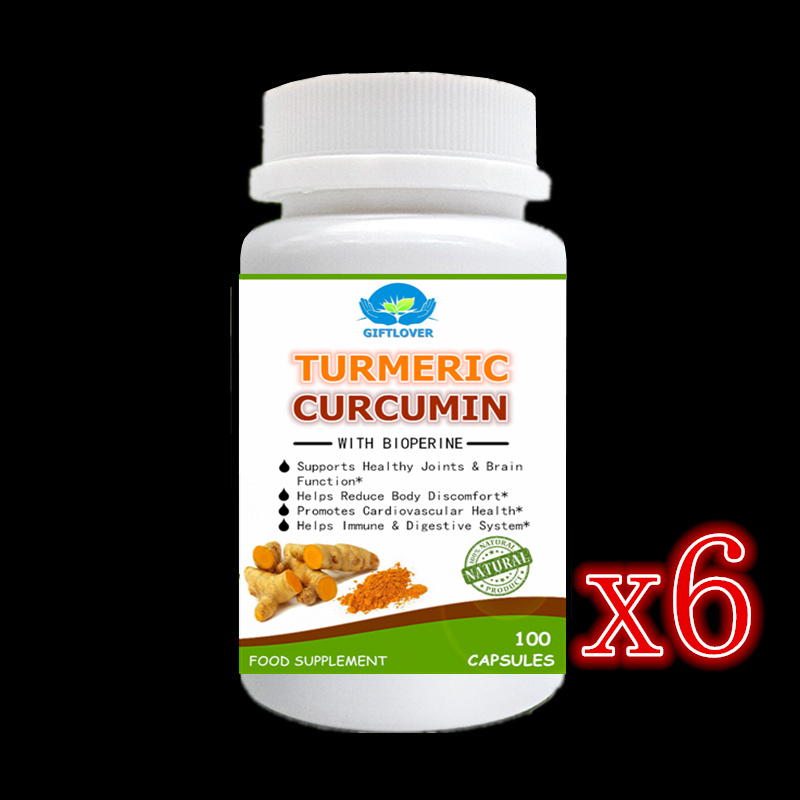 6x100pcs Curcumin + Bioperine,Better effect,Joint Pain Relief,Anti-Inflammatory,Antioxidant.Turmeric Root + Black Pepper Extract acanthopanax root extract powder