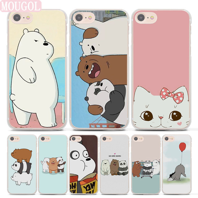 best service 896ad fedd4 US $2.99 |MOUGOL we bare bears Style hard clear phone shell case for Apple  iPhone 8 8Plus 7 7Plus 6 6sPlus X SE 5 5s 4s-in Half-wrapped Case from ...